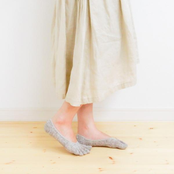 リネン 杢 五本指 フットカバー レディース 靴下 日本製 natural sunny|natural-sunny|02