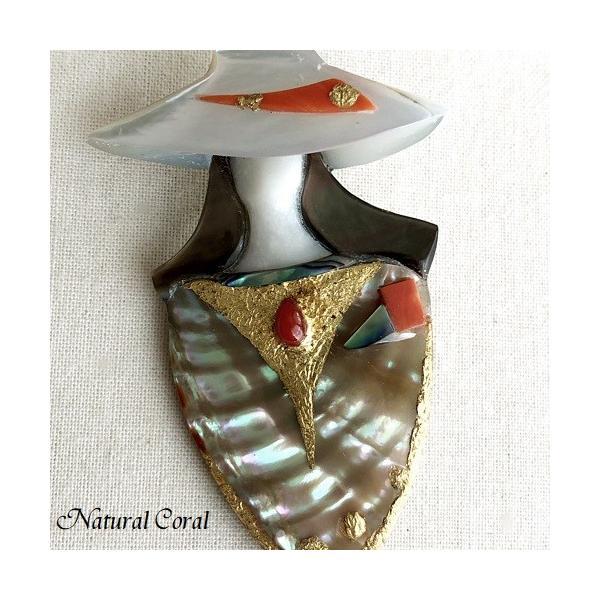 血赤珊瑚 ちあかさんご ブローチ 女性の顔 貝細工 ナチュラルコーラル