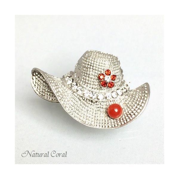 血赤珊瑚 ちあかさんご ブローチ 玉 帽子 銀色 ナチュラルコーラル