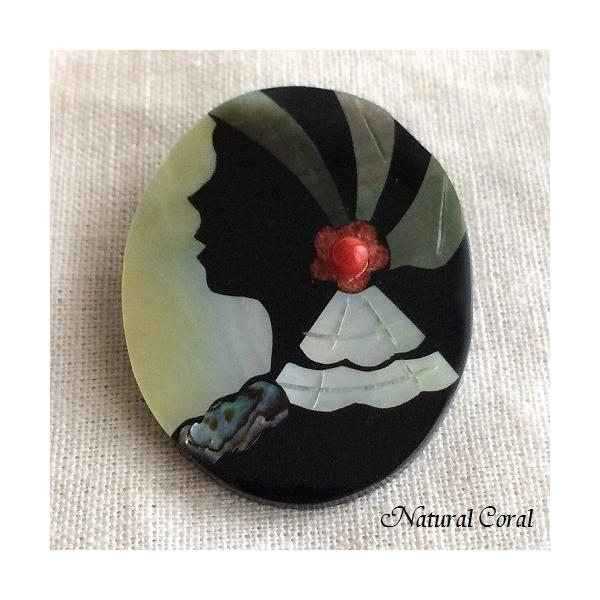 血赤珊瑚 ちあかさんご ブローチ 玉 女性の横顔 貝細工 ナチュラルコーラル