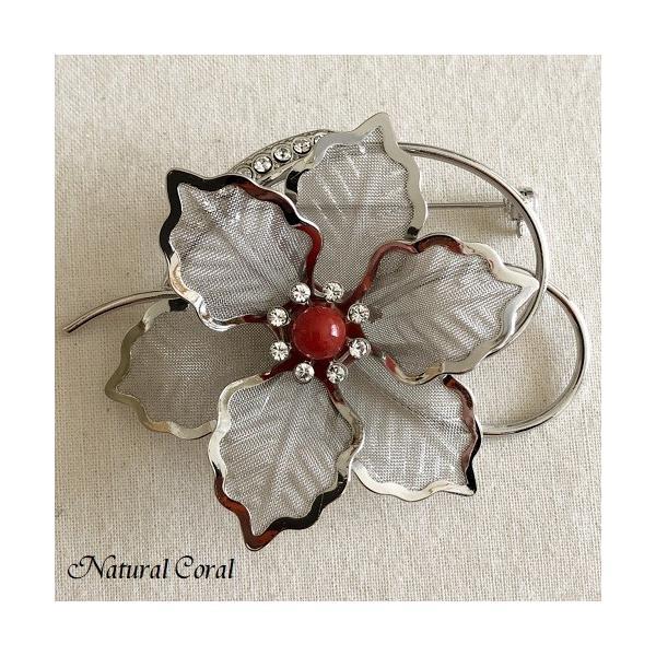 血赤珊瑚 ちあかさんご ブローチ 玉 銀花デザイン ナチュラルコーラル