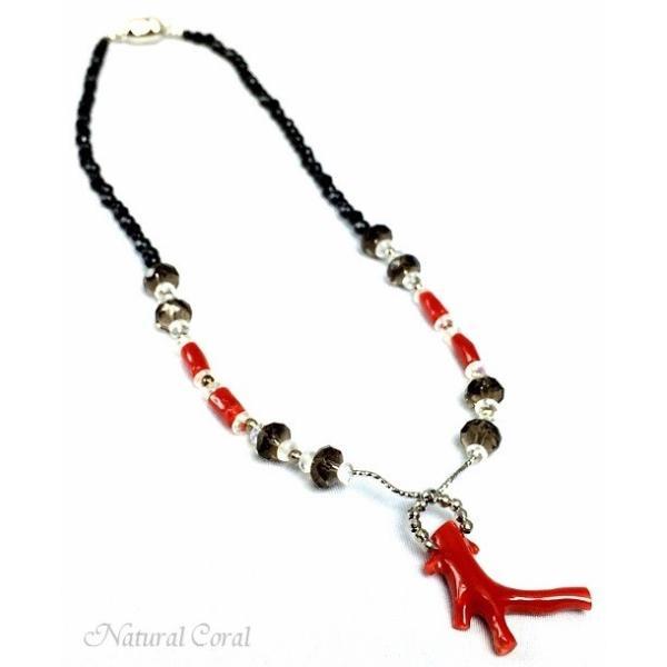 血赤珊瑚 ちあかさんご ネックレス 枝 オニキス ナチュラルコーラル