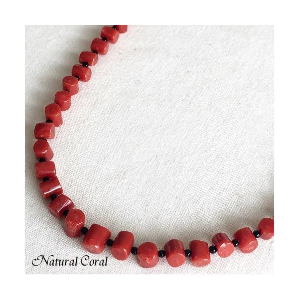 赤珊瑚 あかさんご サンゴ ネックレス 太鼓型 オニキス ナチュラルコーラル 送料無料