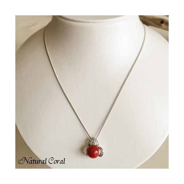 血赤珊瑚 ちあかさんご ペンダント ネックレス ダイヤ ナチュラルコーラル
