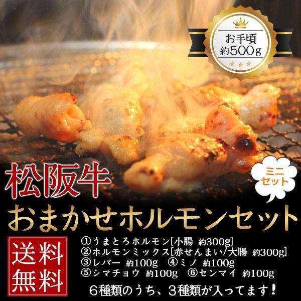 肉 黒毛和牛 牛肉 松阪牛 ホルモン 焼肉 もつ鍋 おまかせホルモンミニセット 500g ( ミノ センマイ シマチョウ レバー 赤センマイ)