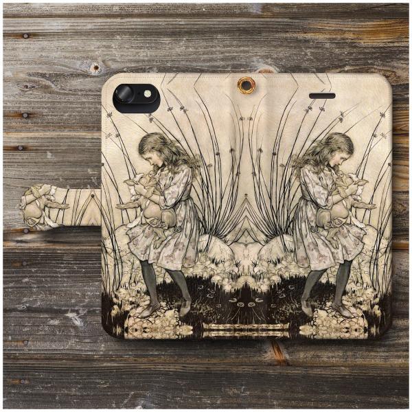 iPhone8Plus ケース iPhone7Plus スマホケース 手帳型 あいふぉん 絵画 全機種対応 ケース 人気 耐衝撃 アーサー ラッカム 不思議の国のアリス2|naturemate-online