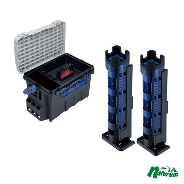 タックルボックス メイホウ バケットマウス BM-9000+ロッドスタンド BM-300 Light2本組セット Cブルー×ブラック