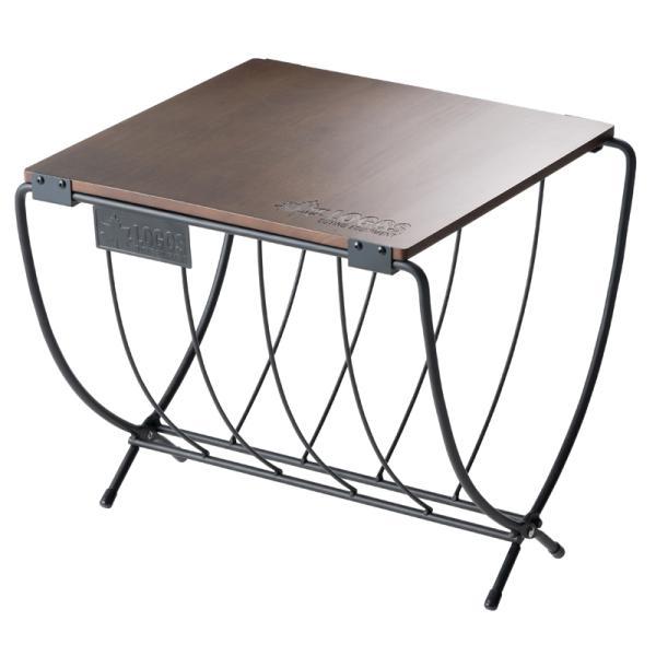 アウトドアテーブル ロゴス ワイド薪ラックウッドテーブル