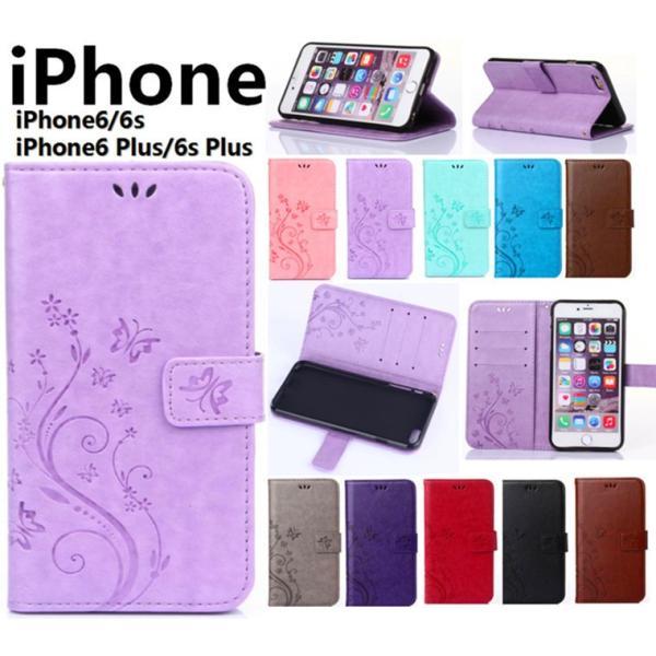 iphone6 iphone6s iphone6 plus iphone6s plusケース 手帳型 アイフォン6ケース 横向き iphone6sケース 花柄 手帳型 iphone6s plusケース|navy-pink