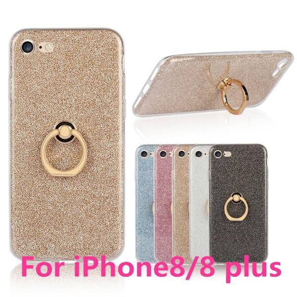 iPhone8/8 Plusケース かわいい キラキラ フィンガー リング付き ソフト スタンド アイフォン8 iPhone8 スマホケース スマホリングケース|navy-pink