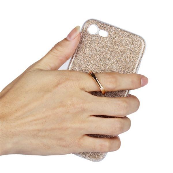 iPhone8/8 Plusケース かわいい キラキラ フィンガー リング付き ソフト スタンド アイフォン8 iPhone8 スマホケース スマホリングケース|navy-pink|02