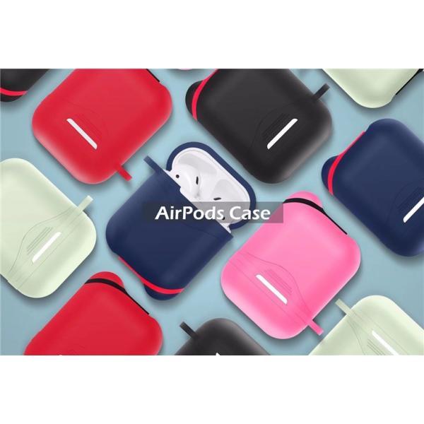 AirPodsカバー AirPodsケース 全5色 エアーポッズ カバー シリコン製 シンプル 保護 Apple アップル 夜光 発光 光る アクセサリー ストラップ 落下防止 衝撃吸収|navy-pink|09