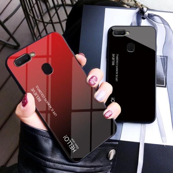 OPPO A7X OPPO R17 PRO OPPO Find X ケース カバー スマホケース 保護ケース 背面強化ガラス+TPU 高級感 背面保護 お洒落 oppo a7x携帯カバー navy-pink 04