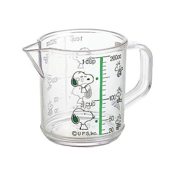 スヌーピー メジャーカップ  計量カップS グリーン 日本製 熱湯OK(SNOOPY 1カップ 200cc キッチン用品 丈夫 メジャーコップ はかり MC-1)073236