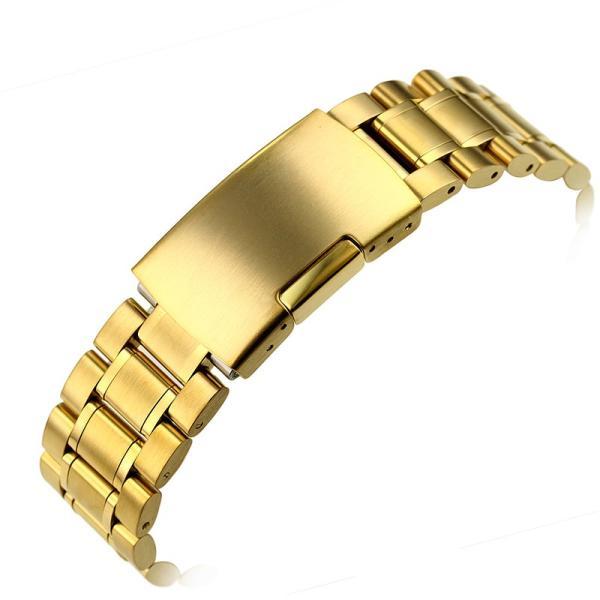 腕時計 交換バンド ベルト ステンレス無垢 プッシュ式 直カン18mm 20mm 22mm ゴールド|ndhci2014