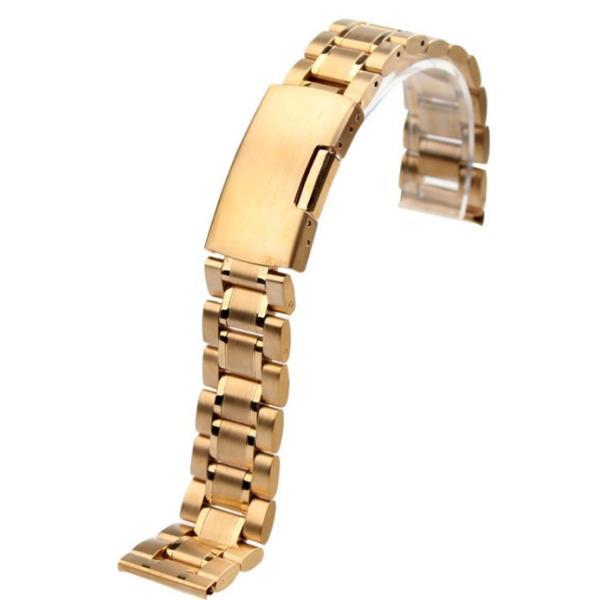 腕時計 交換バンド ベルト ステンレス無垢 プッシュ式 直カン18mm 20mm 22mm ゴールド|ndhci2014|02
