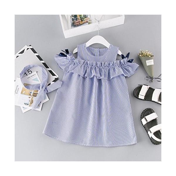 BAO8 子供服 女の子 袖なし 膝丈 ストライプワンピース+ヘッドバンド 丸首ドレス ミニスカート ボタン付き 赤ちゃん服 ガールズ 夏物 普段着|nearside