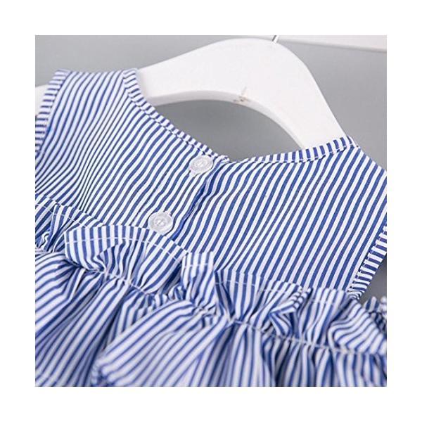 BAO8 子供服 女の子 袖なし 膝丈 ストライプワンピース+ヘッドバンド 丸首ドレス ミニスカート ボタン付き 赤ちゃん服 ガールズ 夏物 普段着|nearside|05