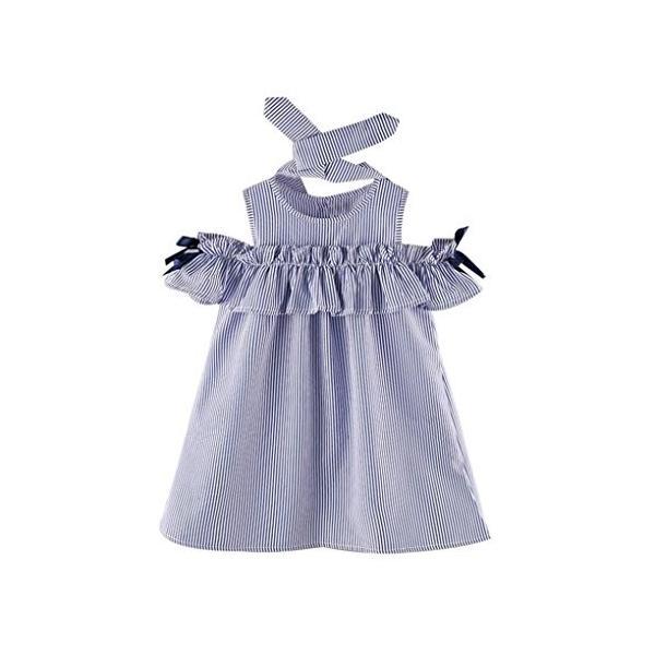 BAO8 子供服 女の子 袖なし 膝丈 ストライプワンピース+ヘッドバンド 丸首ドレス ミニスカート ボタン付き 赤ちゃん服 ガールズ 夏物 普段着|nearside|09
