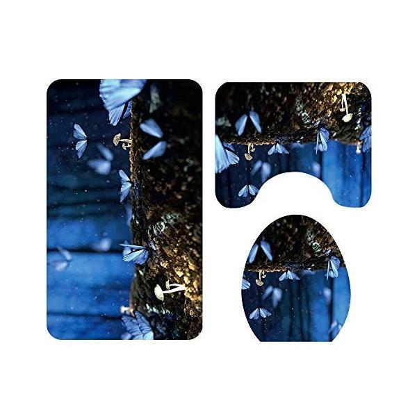 CSJ 汎用性の高い快適なバスルームマット夜景蝶柄フロアマット浴室トイレシートスリーピースカーペットは色あせない洗濯機で洗えます 水分を効果的に吸収|nearside|04