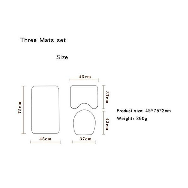 スリーピースカーペット吸水色あせない、快適なバスルームパターンマットのバスマットルームトイレパッドワイルドセットは洗濯機で洗えます|nearside