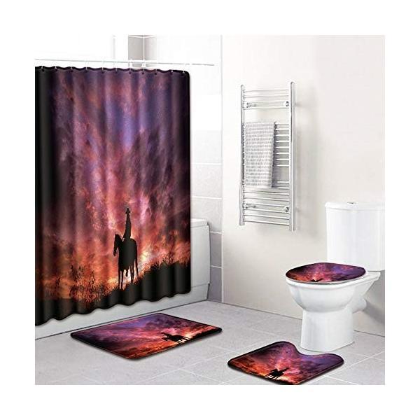 乗馬人シルエットパターンシャワーカーテンフロアマット浴室トイレシート4ピースカーペット吸水率は色あせない汎用性の高い快適な柔らかいバスルームマットは洗|nearside|06