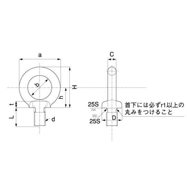 ステンレス 足長アイボルト (ウィット) 太さ=1/2インチ × 長さ=30mm 【 バラ売り : 1本入り 】 nejiya 02