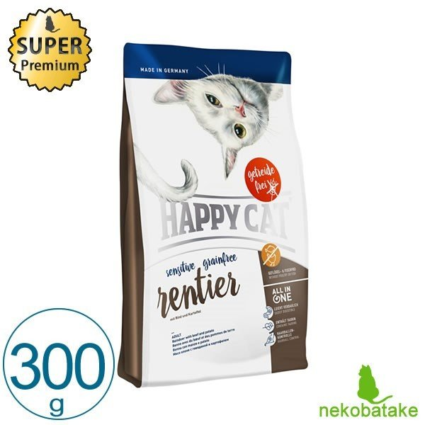 HAPPY CAT センシティブ グレインフリー レンティア 300g キャットフード 総合栄養食|nekobatake