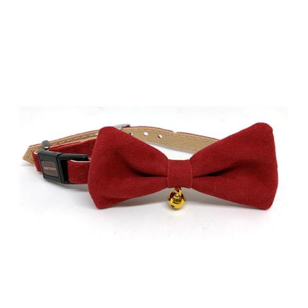necoco リボン付キャットカラー M レッド 猫用品 首輪 リボン セーフティーカラー 鈴付 Petio|nekobatake