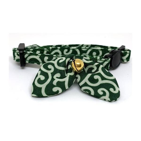 フェリーク キャットカラー 唐草 グリーン 猫用首輪 セーフティバックル 綿|nekobatake
