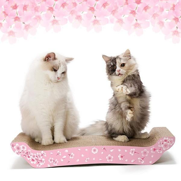 猫壱 バリバリベッド L SAKURA 猫用品 ツメとぎ 本体 桜柄 限定品|nekobatake