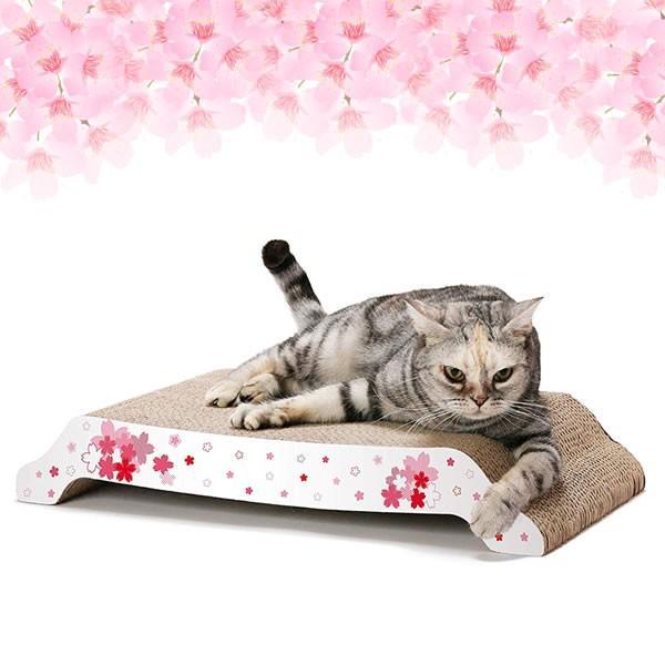 猫壱 バリバリベッド L SAKURA 猫用品 ツメとぎ 本体 桜柄 限定品|nekobatake|02
