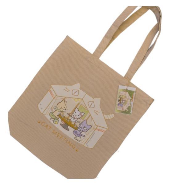 猫雑貨 猫デザイン オリジナル CAT MEETING トートバッグ|nekote-shop
