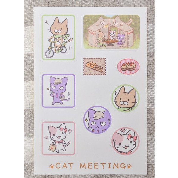 猫の手さきオリジナル CAT MEETING キャラクターシール|nekote-shop