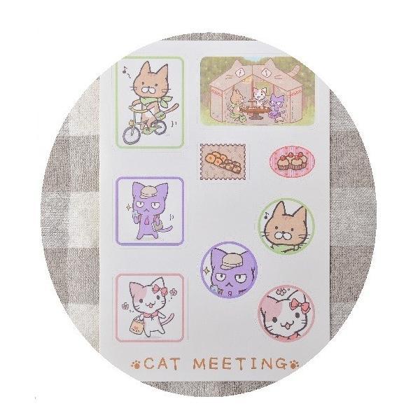 猫の手さきオリジナル CAT MEETING キャラクターシール|nekote-shop|02