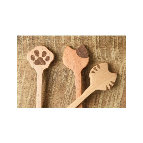 猫雑貨 キッチン Mio cat 猫カトラリー スプーン(トラ、ブチ、肉球)|nekote-shop|02