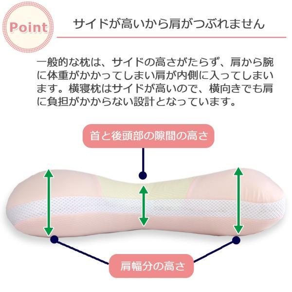 枕 横寝枕 横向き まくら イビキ 肩こり 玉綿 枕 カバー付き|nemurichi|03