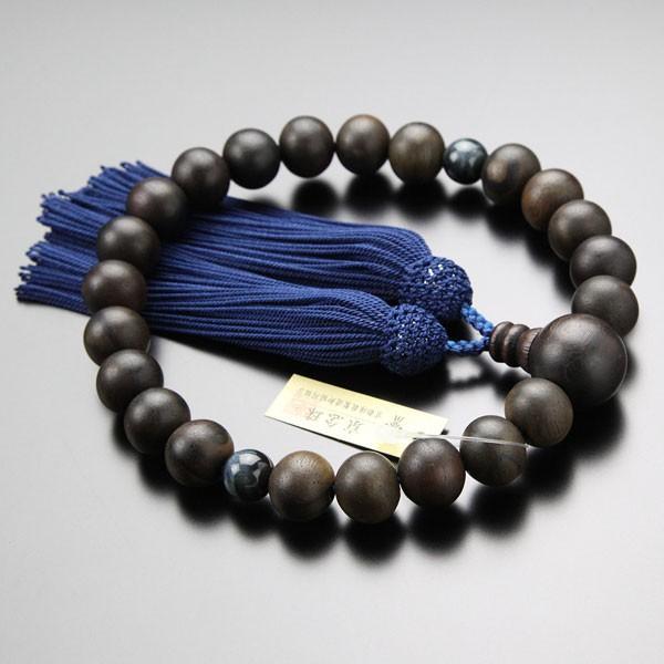 数珠 男性用 縞黒檀 2天 青虎目石 22玉 正絹房 数珠袋付き|nenjyu|02