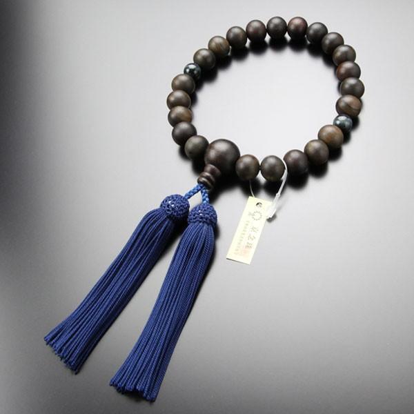 数珠 男性用 22玉 縞黒檀 2天 青虎目石 正絹房 略式数珠 看板京念珠|nenjyu|05