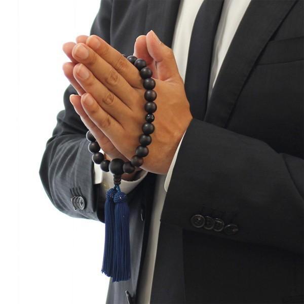 数珠 男性用 22玉 縞黒檀 2天 青虎目石 正絹房 略式数珠 看板京念珠|nenjyu|06