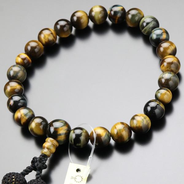 数珠 男性用 22玉 混合虎目石 正絹2色房 略式数珠 京念珠 nenjyu