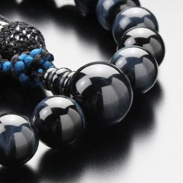 数珠 男性用 22玉 青虎目石 正絹2色房 略式数珠|nenjyu|03
