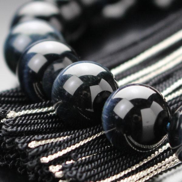 数珠 男性用 22玉 青虎目石 正絹2色房 略式数珠|nenjyu|04