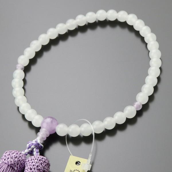 数珠 女性用 約7ミリ 白オニキス 藤雲石 正絹2色房|nenjyu