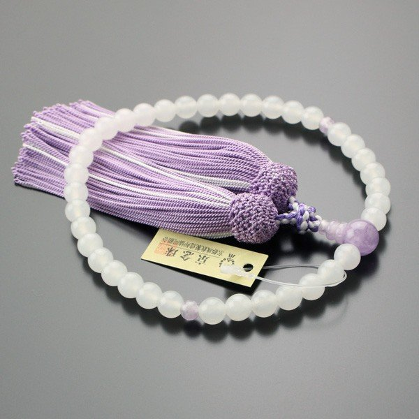 数珠 女性用 約7ミリ 白オニキス 藤雲石 正絹2色房|nenjyu|02