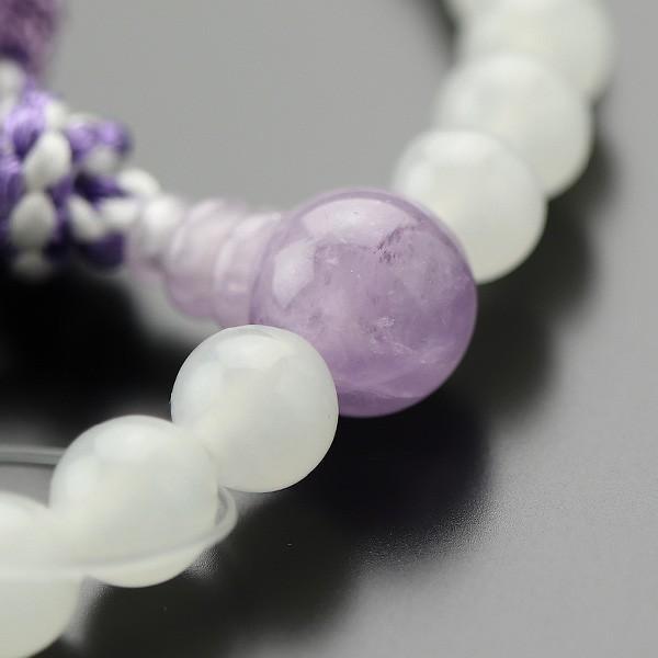 数珠 女性用 約7ミリ 白オニキス 藤雲石 正絹2色房|nenjyu|03