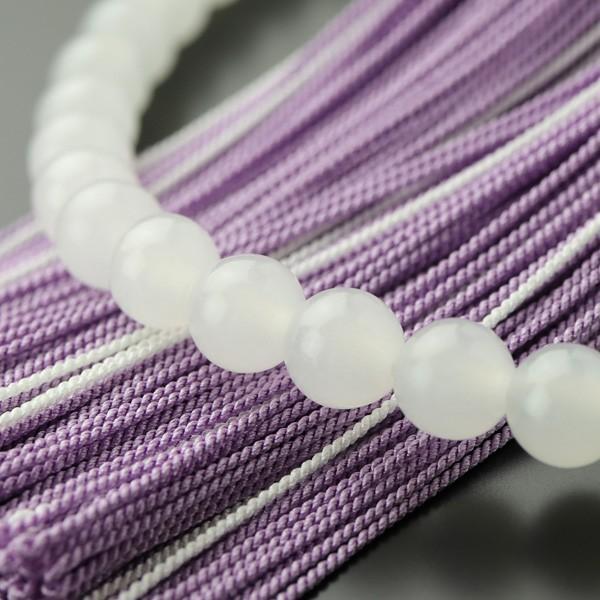数珠 女性用 約7ミリ 白オニキス 藤雲石 正絹2色房|nenjyu|04