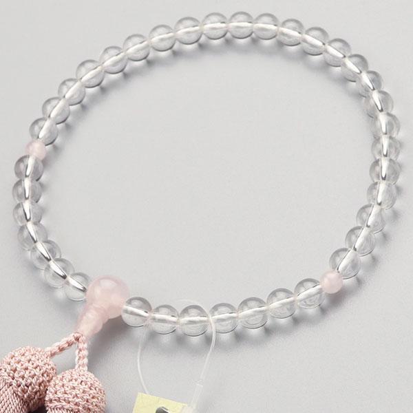 数珠 女性用 本水晶 ローズクォーツ 7mmタイプ 正絹房 略式数珠 看板京念珠|nenjyu