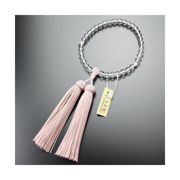 数珠 女性用 本水晶 ローズクォーツ 7mmタイプ 正絹房 略式数珠 看板京念珠|nenjyu|04