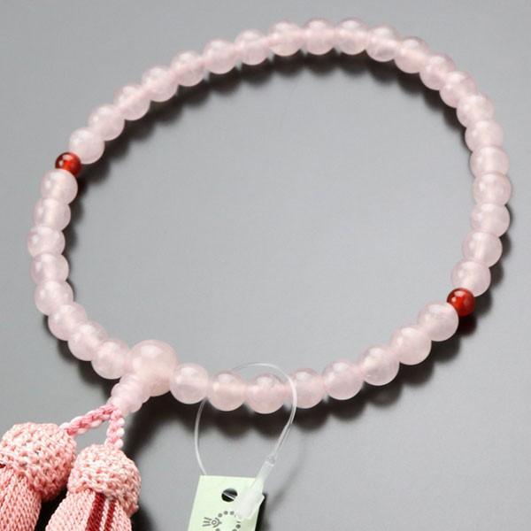 数珠 女性用 ローズクォーツ 二天 瑪瑙 約7ミリ 正絹房 数珠袋付き|nenjyu